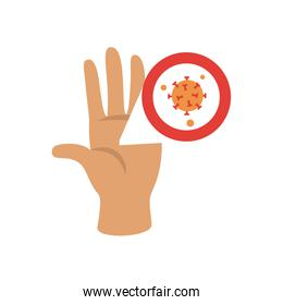 hand and covid 19 virus symbol icon, flat style
