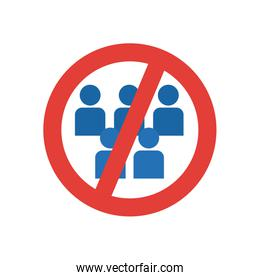 forbidden sign of crowd people icon, flat style
