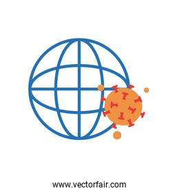 global sphere and covid 19 virus icon, flat style