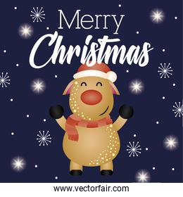 happy merry christmas card with reindeer