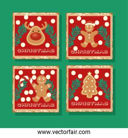 happy merry christmas card with ginger cookies