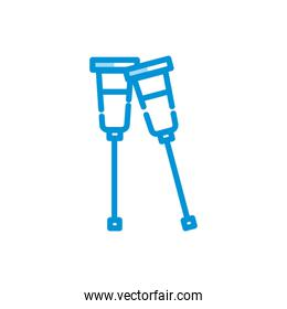 Isolated medical crutches icon vector design