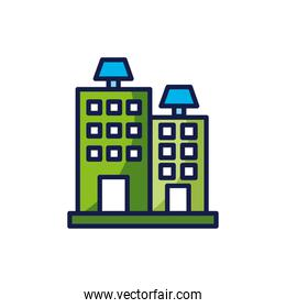 Isolated solar panel over building icon vector design