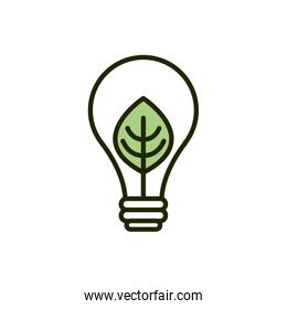 light bulb leaf environment ecology line and fill