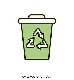 bin waste recycle environment ecology line and fill