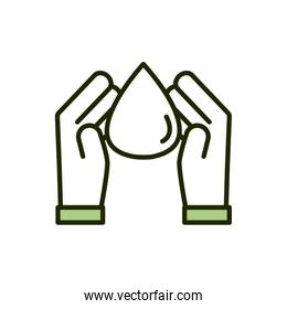 hands water drop environment ecology line and fill over white