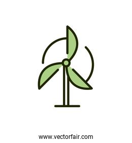 wind turbine renewable energy environment ecology line and fill