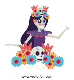katrina skull with floral hair decoration comic character