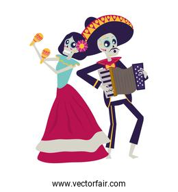 catrina and mariachi playing accordion couple characters