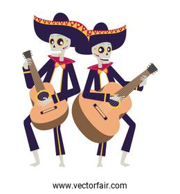 mexican mariachis skulls playing guitars characters