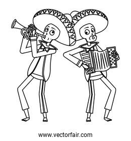 mexican mariachis skulls playing trumpet and accordion