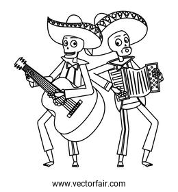 mexican mariachis skulls playing guitar and accordion
