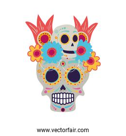 skull mask with floral decoration head icon