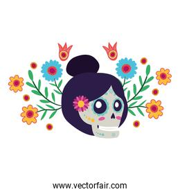katrina skull with floral decoration comic character
