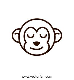 cute face monkey animal cartoon icon thick line