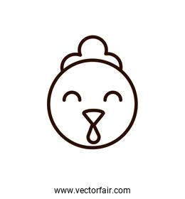cute face chicken animal cartoon icon thick line