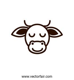 cute face cow animal cartoon icon thick line