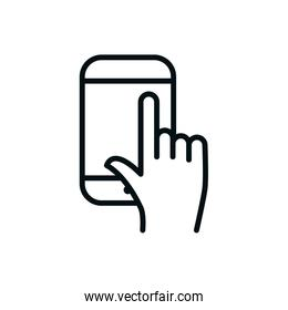 smartphone hand clicking shopping line style