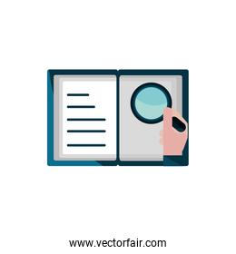 open book hand with magnifier property intellectual copyright icon