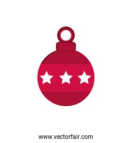 red ball with stars decoration happy christmas icon