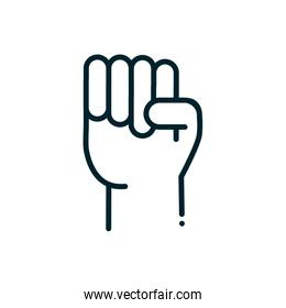 hand raised with fist peace and human rights line