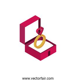 happy valentines day ring in box love isometric icon