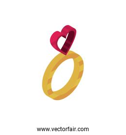 happy valentines day ring jewelry with heart love isometric icon