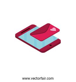 happy valentines day smartphone email message isometric icon