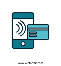 smartphone bank card transaction internet of things line and fill icon