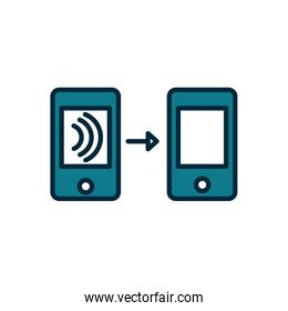 smartphones transfer wifi internet of things line and fill icon