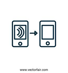 smartphones transfer wifi internet of things line icon