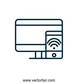 computer and smartphone wifi internet of things line icon