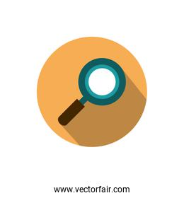 magnifying glass searching business strategy icon block shadow