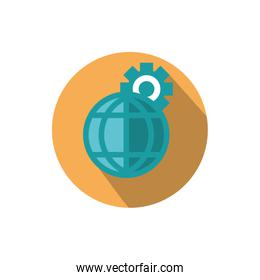 world setting gear business strategy icon block shadow