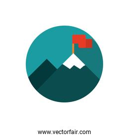 mountain with flag progress business strategy icon block shadow