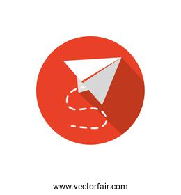 paper plane creativity business strategy icon block shadow