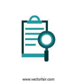 clipboard document magnifier business strategy icon