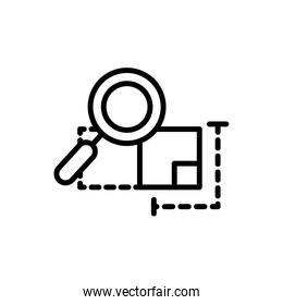 plan analysis magnifier architecture icon line style