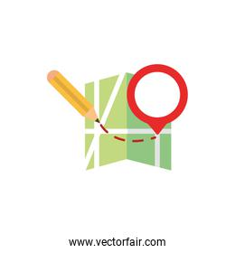 pencil marker route pointer gps map and navigation