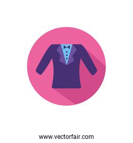 Isolated male suit in round frame