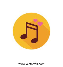 Isolated love music vector design