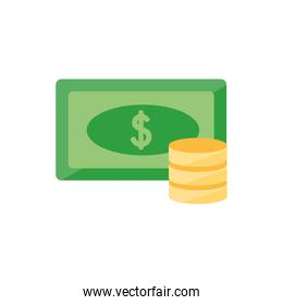 Isolated bill and coins icon vector design
