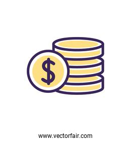 Isolated coins icon fill vector design