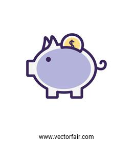 Isolated coin inside piggy icon fill vector design