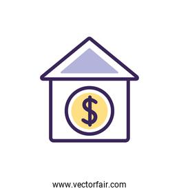 Isolated bank icon fill vector design