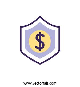 Isolated money shield icon fill vector design