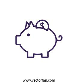 Isolated coin inside piggy icon line vector design