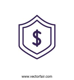 Isolated money shield icon line vector design