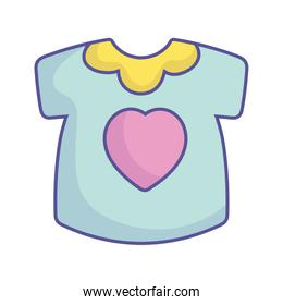 baby shower little shirt with heart clothes icon
