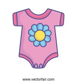 baby shower pink bodysuit with flower clothes icon